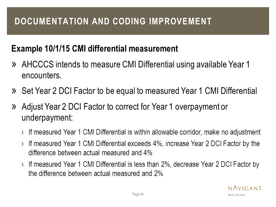 Page 54 Example 10/1/15 CMI differential measurement » AHCCCS intends to measure CMI Differential using available Year 1 encounters. » Set Year 2 DCI