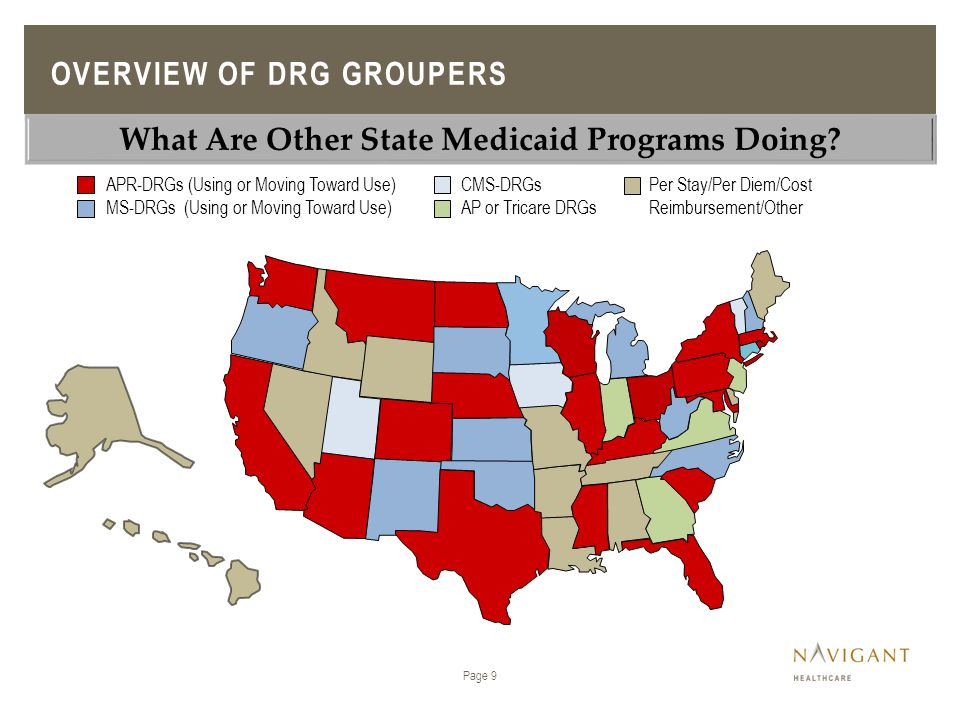 CMS-DRGs AP or Tricare DRGs APR-DRGs (Using or Moving Toward Use) MS-DRGs (Using or Moving Toward Use) Per Stay/Per Diem/Cost Reimbursement/Other Page