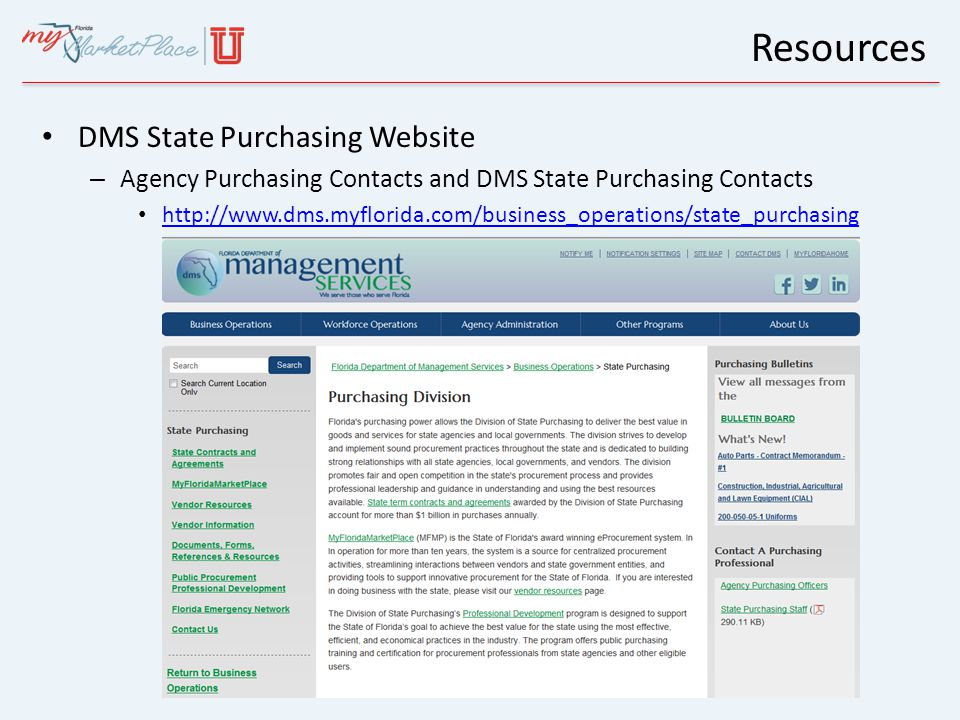 Resources DMS State Purchasing Website – Agency Purchasing Contacts and DMS State Purchasing Contacts http://www.dms.myflorida.com/business_operations