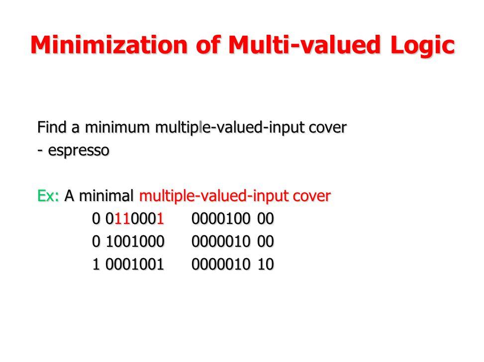 Minimization of Multi-valued Logic Find a minimum multiple-valued-input cover - espresso Ex: A minimal multiple-valued-input cover 0 0110001 0000100 0