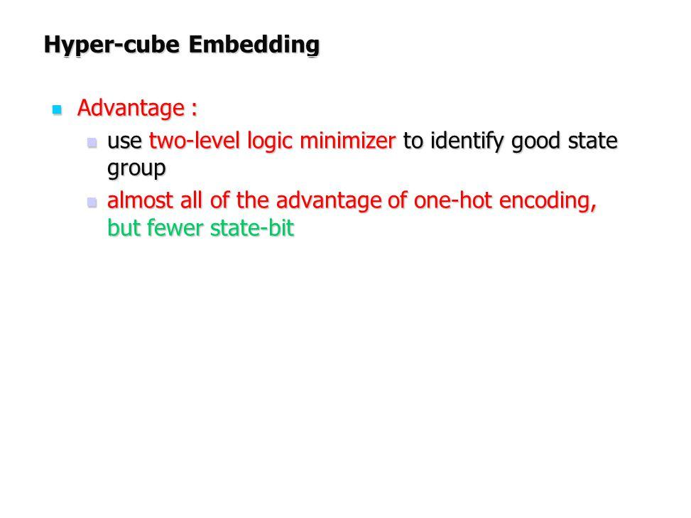 Hyper-cube Embedding Advantage : Advantage : use two-level logic minimizer to identify good state group use two-level logic minimizer to identify good