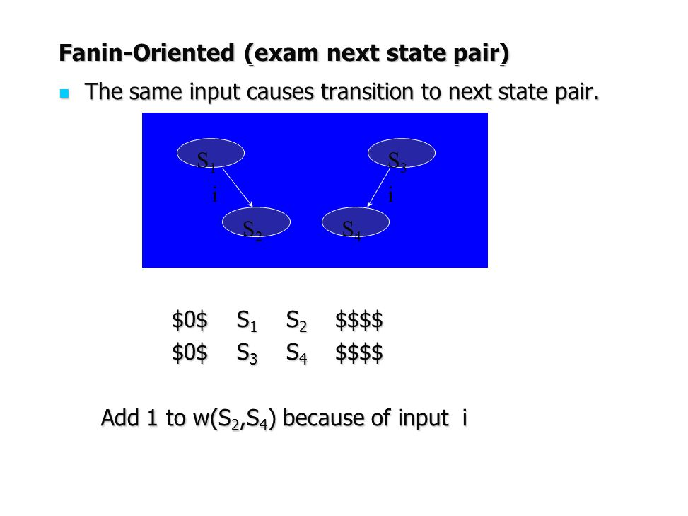 Fanin-Oriented (exam next state pair) The same input causes transition to next state pair. The same input causes transition to next state pair. $0$ S