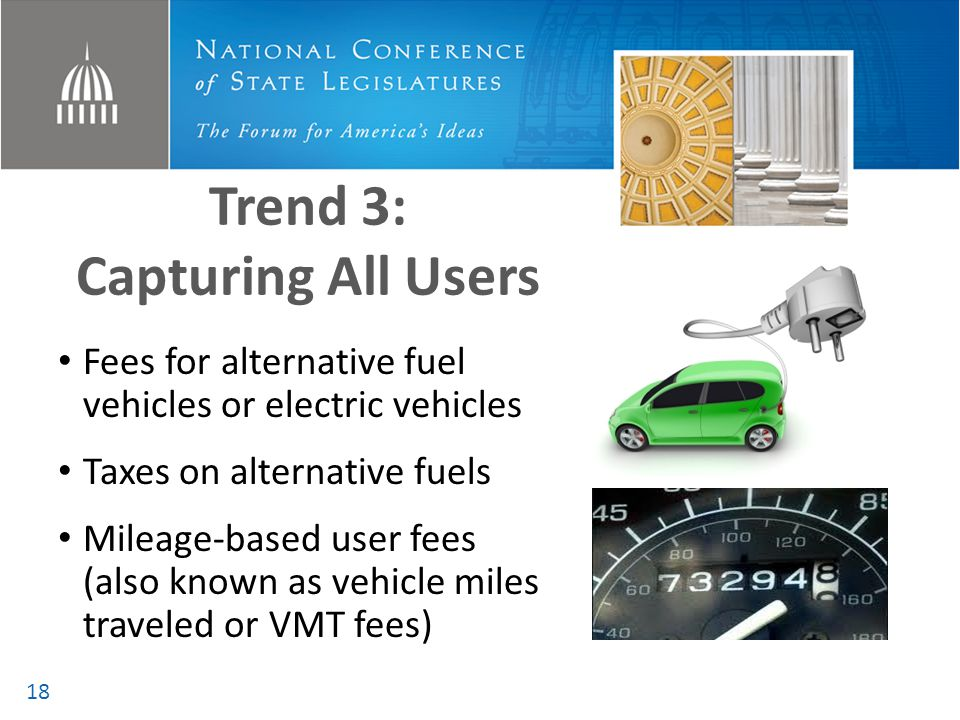 Trend 3: Capturing All Users Fees for alternative fuel vehicles or electric vehicles Taxes on alternative fuels Mileage-based user fees (also known as