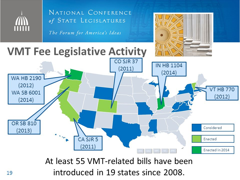 VMT Fee Legislative Activity At least 55 VMT-related bills have been introduced in 19 states since 2008. OR SB 810 (2013) WA HB 2190 (2012) WA SB 6001