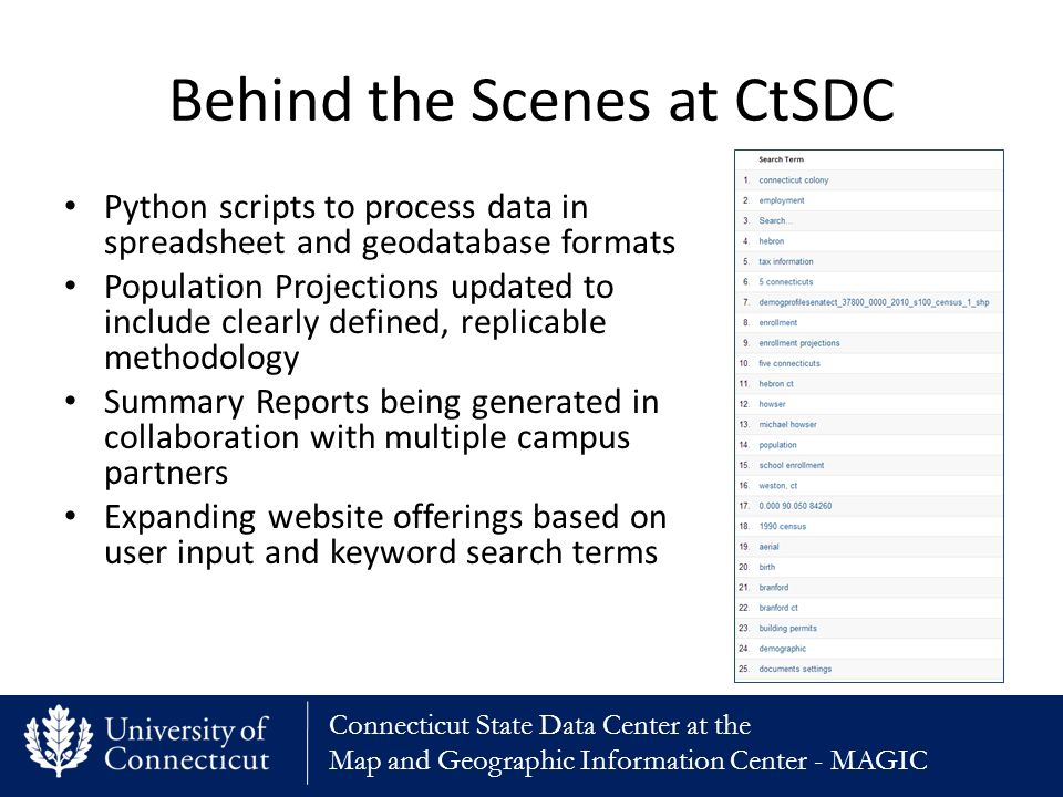 Connecticut State Data Center at the Map and Geographic Information Center - MAGIC Behind the Scenes at CtSDC Python scripts to process data in spreadsheet and geodatabase formats Population Projections updated to include clearly defined, replicable methodology Summary Reports being generated in collaboration with multiple campus partners Expanding website offerings based on user input and keyword search terms