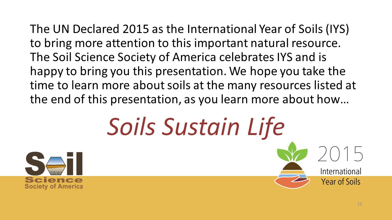 16 The UN Declared 2015 as the International Year of Soils (IYS) to bring more attention to this important natural resource. The Soil Science Society