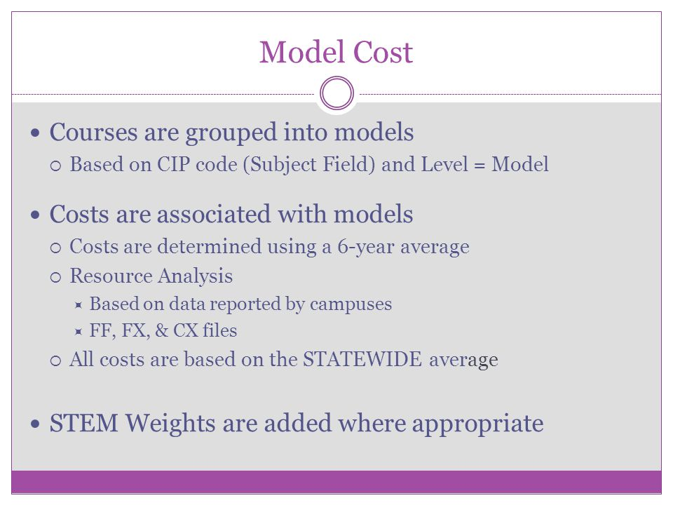 Model Cost Courses are grouped into models  Based on CIP code (Subject Field) and Level = Model Costs are associated with models  Costs are determin