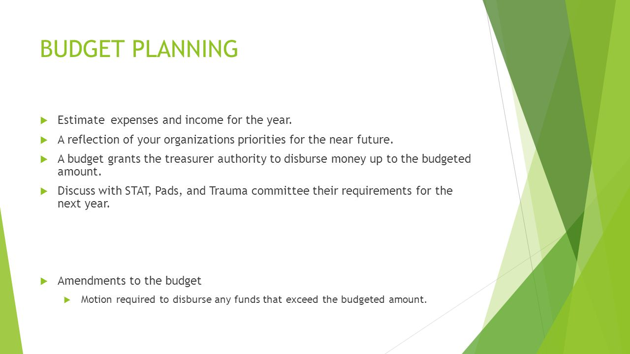 BUDGET PLANNING  Estimate expenses and income for the year.
