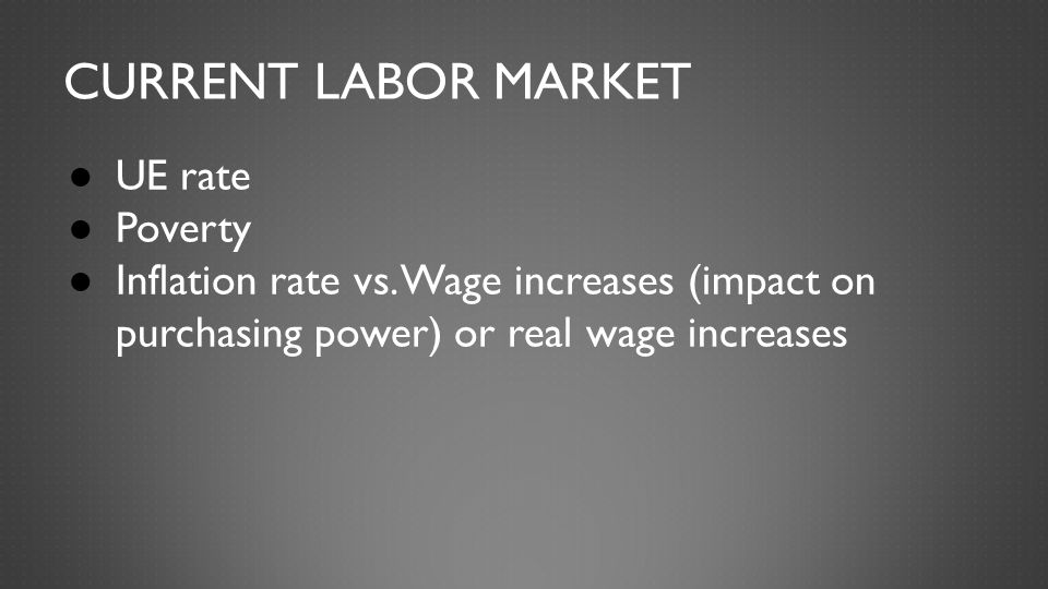REAL WAGE Change in prices of consumer goods vs the change in nominal wages and average workweek CPI increase -.3% (Aug '14) Real wage change: +.6% Average workweek change: +.0% Average weekly earnings change: +.3%