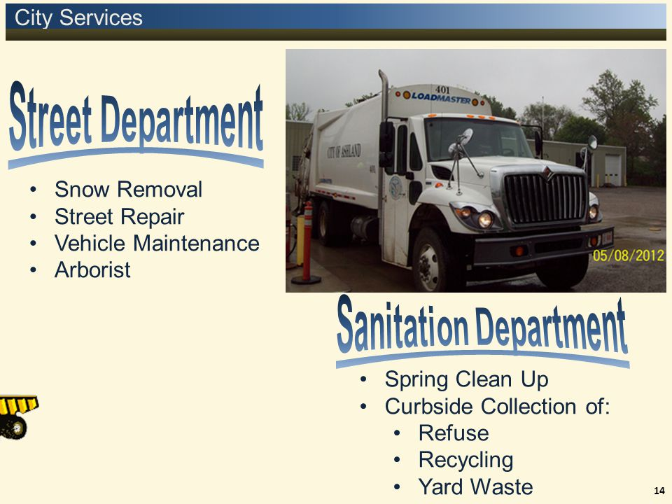 City Services 14 Snow Removal Street Repair Vehicle Maintenance Arborist Spring Clean Up Curbside Collection of: Refuse Recycling Yard Waste