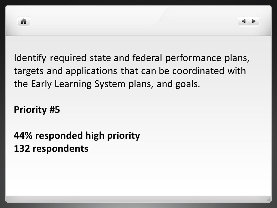 Identify required state and federal performance plans, targets and applications that can be coordinated with the Early Learning System plans, and goals.