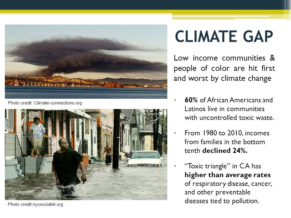 CLIMATE GAP Low income communities & people of color are hit first and worst by climate change 60% of African Americans and Latinos live in communities with uncontrolled toxic waste.