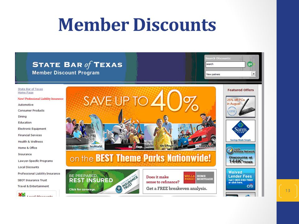13 Member Discounts