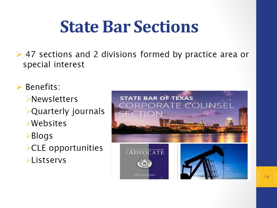 State Bar Sections  47 sections and 2 divisions formed by practice area or special interest  Benefits:  Newsletters  Quarterly journals  Websites