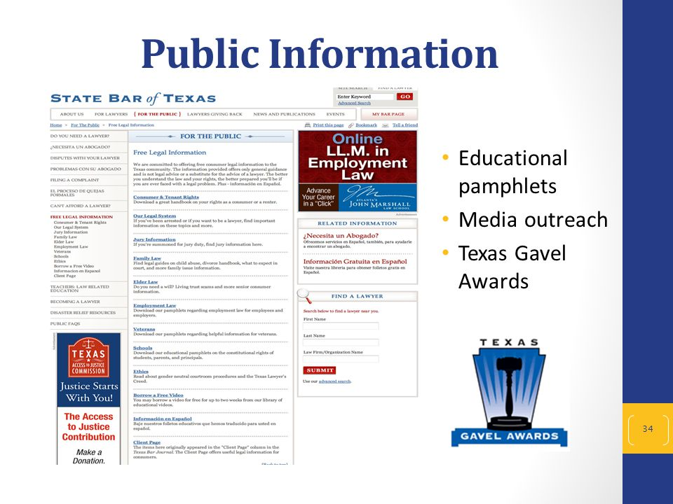 Public Information Educational pamphlets Media outreach Texas Gavel Awards 34