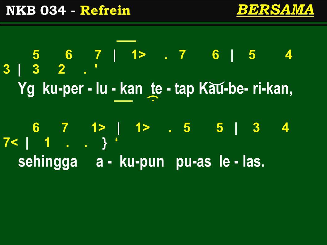 5 6 7 | 1>. 7 6 | 5 4 3 | 3 2. Yg ku-per - lu - kan te - tap Kau-be- ri-kan, 6 7 1> | 1>.