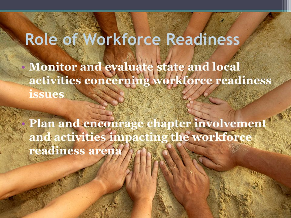 Role of Workforce Readiness Monitor and evaluate state and local activities concerning workforce readiness issues Plan and encourage chapter involvement and activities impacting the workforce readiness arena