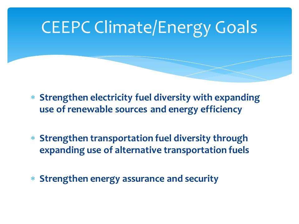  Strengthen electricity fuel diversity with expanding use of renewable sources and energy efficiency  Strengthen transportation fuel diversity through expanding use of alternative transportation fuels  Strengthen energy assurance and security CEEPC Climate/Energy Goals