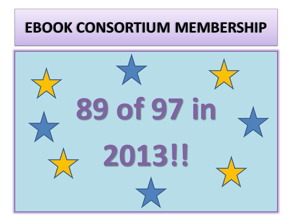 EBOOK CONSORTIUM MEMBERSHIPEBOOK CONSORTIUM MEMBERSHIP 89 of 97 in 2013!!