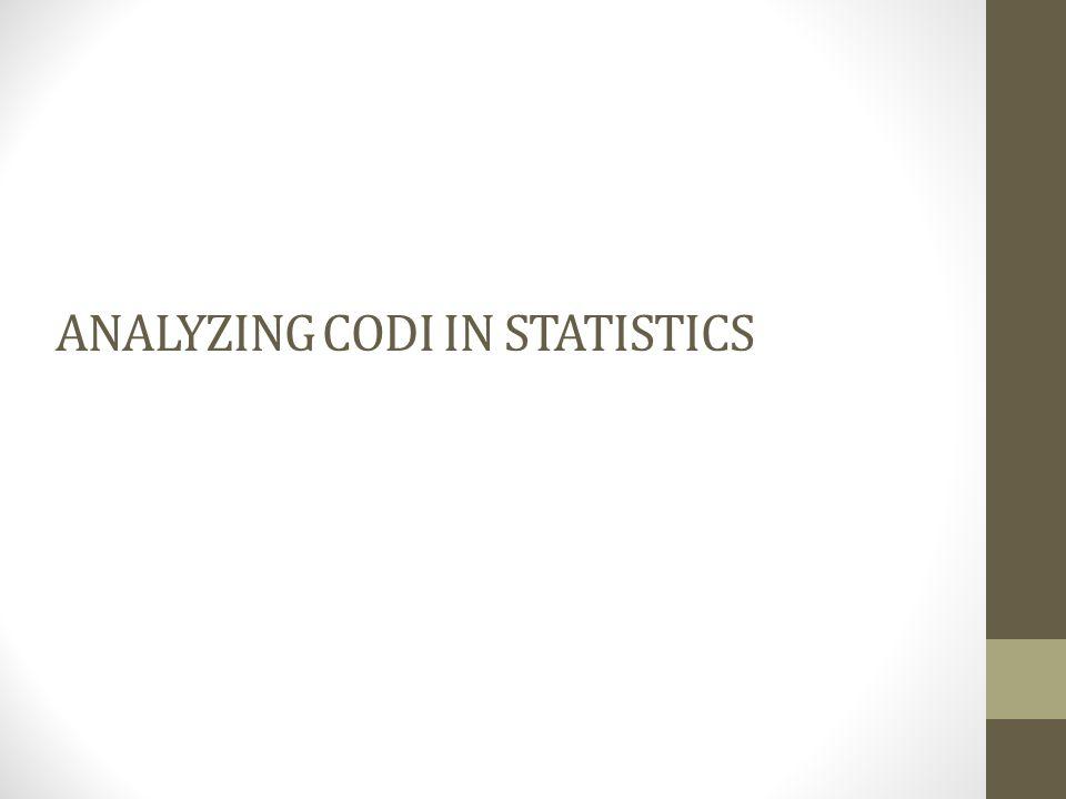 ANALYZING CODI IN STATISTICS
