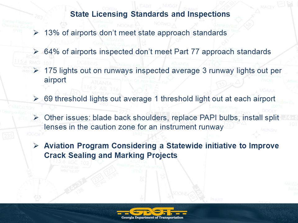 State Licensing Standards and Inspections  13% of airports don't meet state approach standards  64% of airports inspected don't meet Part 77 approac