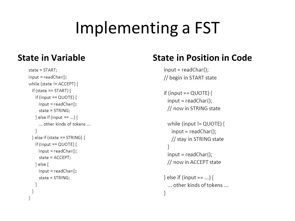 Implementing a FST State in Variable state = START; input = readChar(); while (state != ACCEPT) { if (state == START) { if (input == QUOTE) { input =