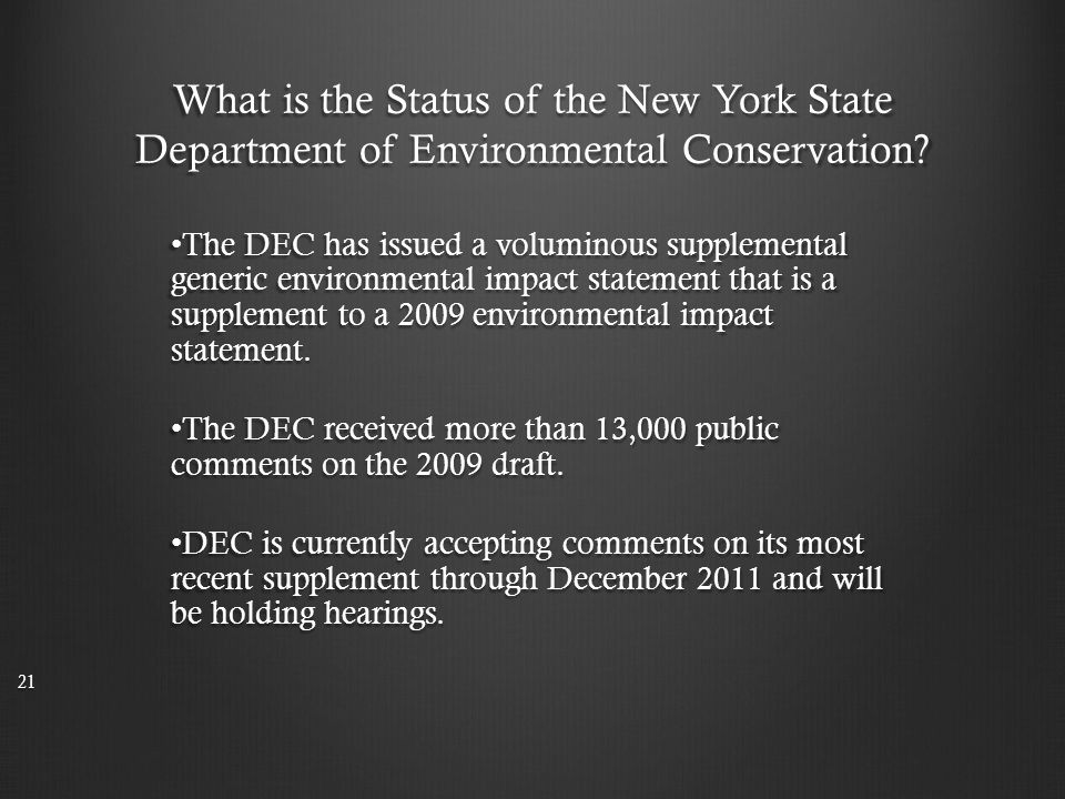 What is the Status of the New York State Department of Environmental Conservation.