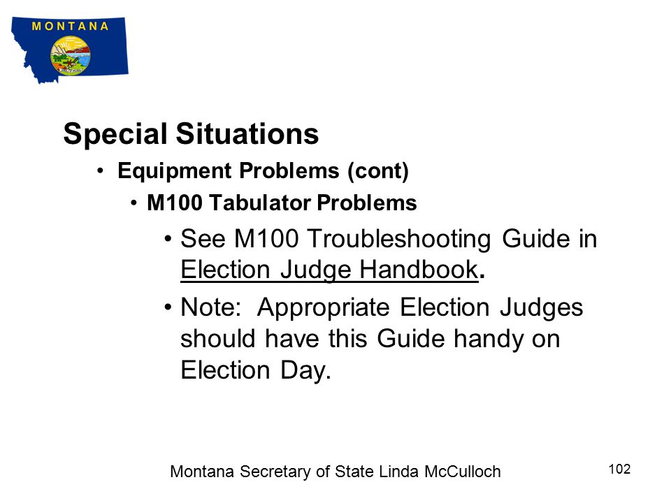 Special Situations Equipment Problems (cont) AutoMARK Problems See AutoMARK Troubleshooting Guide in Election Judge Handbook.