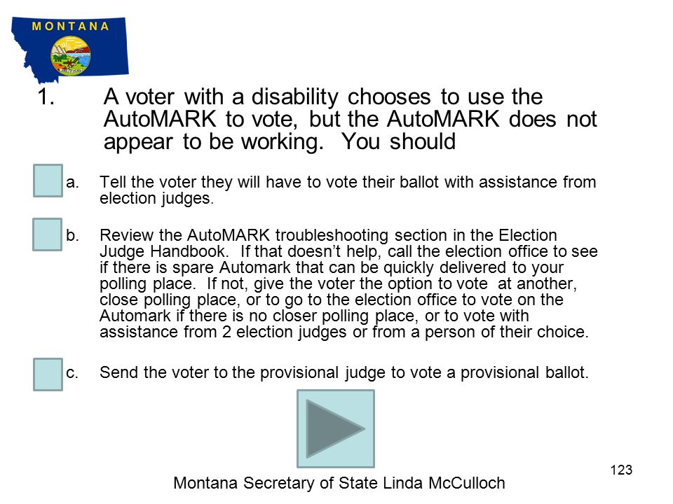 MULTIPLE CHOICE QUESTIONS Montana Secretary of State Linda McCulloch 122