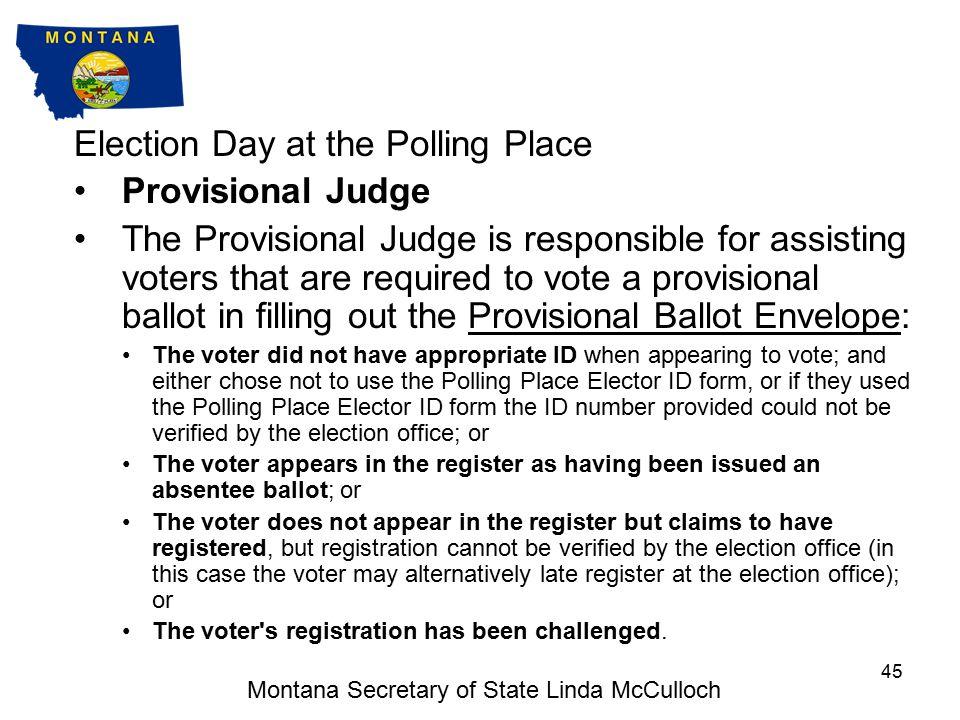 Election Day at the Polling Place M100 or Ballot Judge Receive ballot from elector, remove stubs.