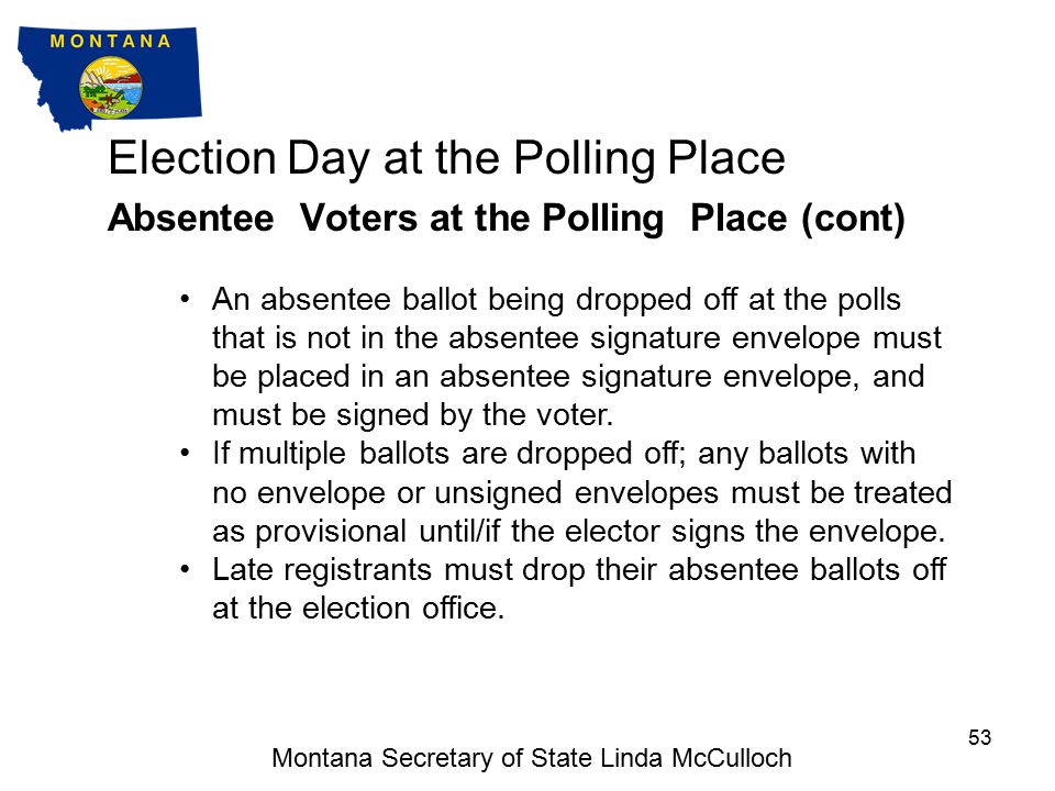 Election Day at the Polling Place Absentee Voters at the Polling Place A voter with an absentee ballot should be allowed to drop the ballot off on election day at any polling place.
