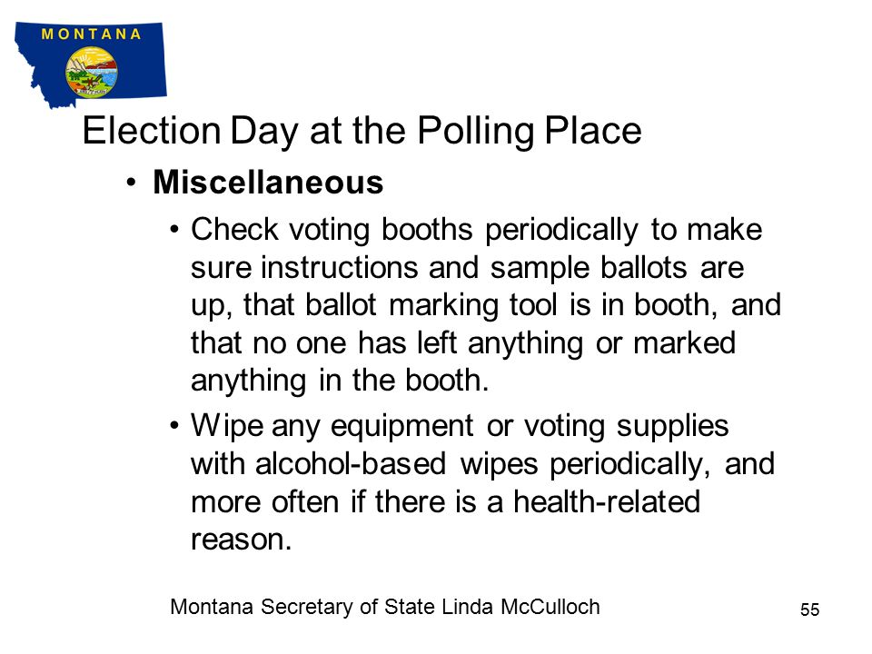 Election Day at the Polling Place Other Polling Place Activities See the Election Judge Handbook and the Poll Watchers and Election Observers Guide in the appendix of the Election Judge Handbook for detailed information about the following polling place activities:Election Judge Handbook Poll watchersPetition signature gatherers ElectioneeringElection Observers In short, all of the listed activities except electioneering are allowed at the polling place but they cannot impede the voting process.