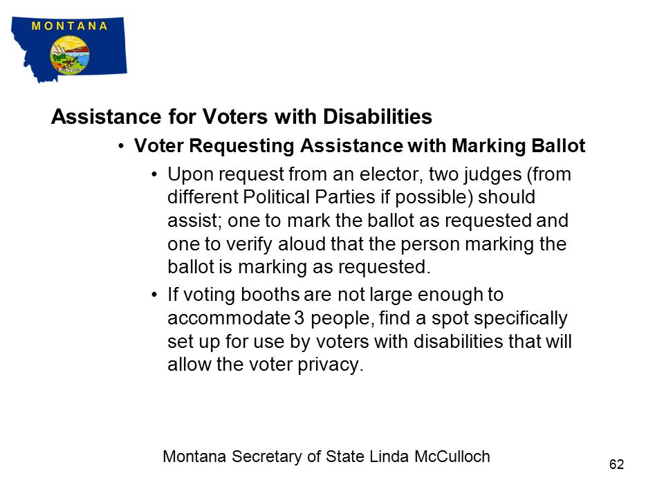 Assistance for Voters with Disabilities Curbside Voting (cont) Deliver ballot (in secrecy sleeve) to ballot judge.