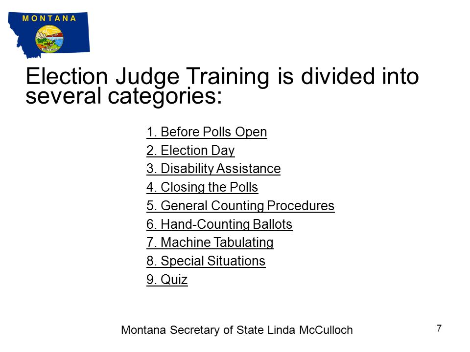 Training for Election Judges This training presentation is provided to supplement local training, the Election Judge Handbook, and the Uniform Voting Systems Guide.Election Judge Handbook Uniform Voting Systems Guide This training takes approximately one hour to complete and includes a quiz at the end.