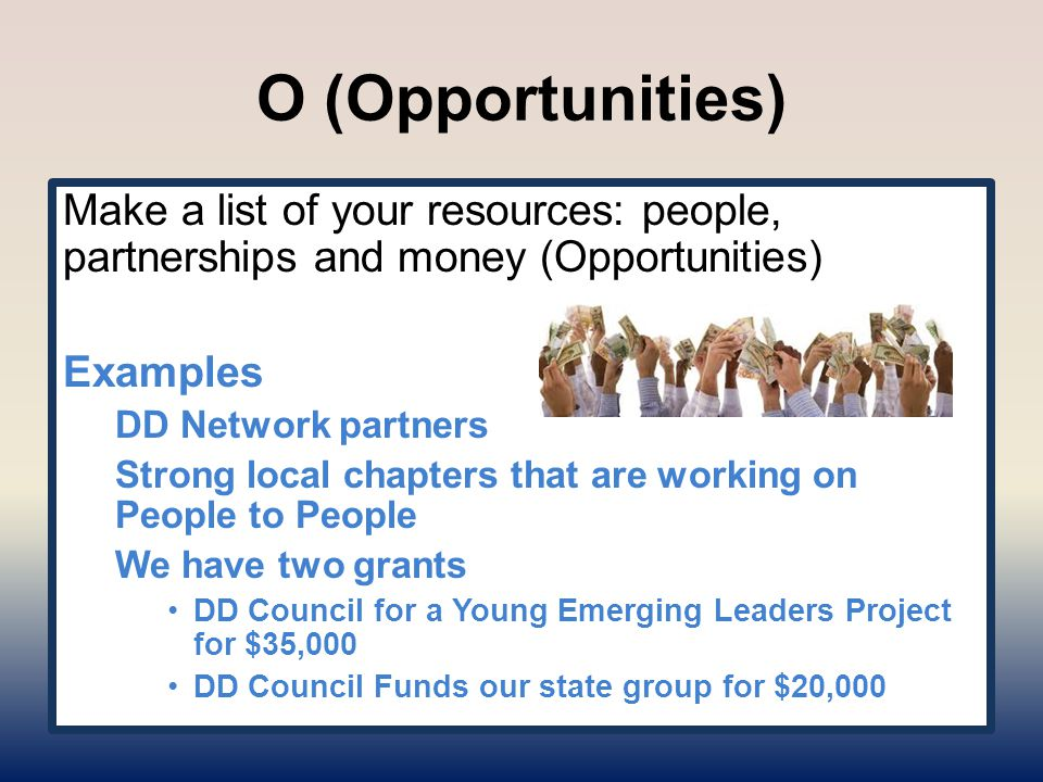 O (Opportunities) Make a list of your resources: people, partnerships and money (Opportunities) Examples DD Network partners Strong local chapters that are working on People to People We have two grants DD Council for a Young Emerging Leaders Project for $35,000 DD Council Funds our state group for $20,000