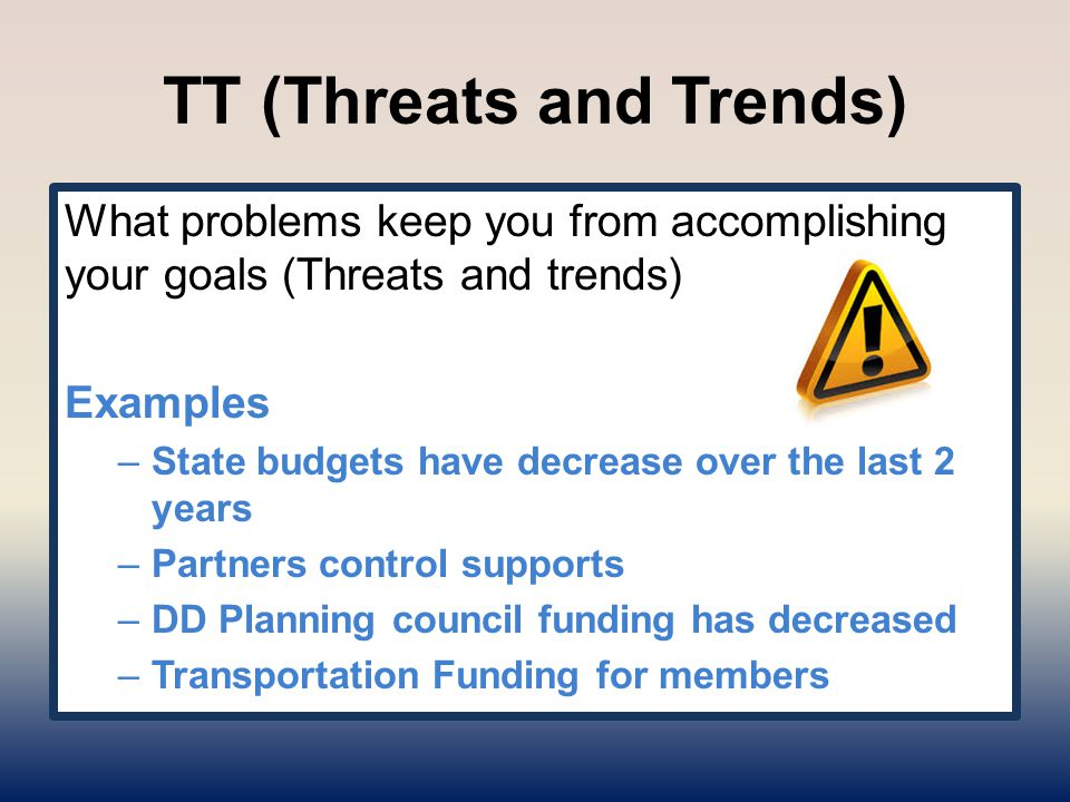 TT (Threats and Trends) What problems keep you from accomplishing your goals (Threats and trends) Examples –State budgets have decrease over the last
