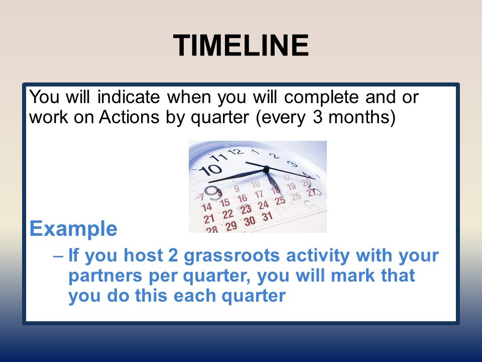 TIMELINE You will indicate when you will complete and or work on Actions by quarter (every 3 months) Example –If you host 2 grassroots activity with your partners per quarter, you will mark that you do this each quarter