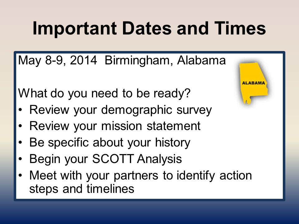 Important Dates and Times May 8-9, 2014 Birmingham, Alabama What do you need to be ready.