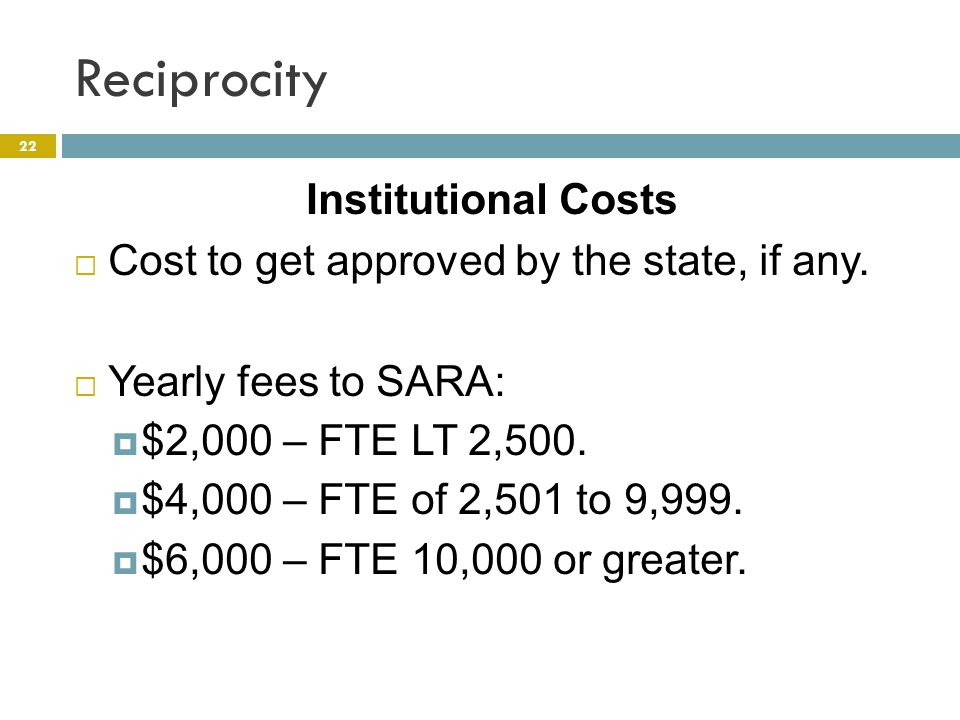 Reciprocity 22 Institutional Costs  Cost to get approved by the state, if any.