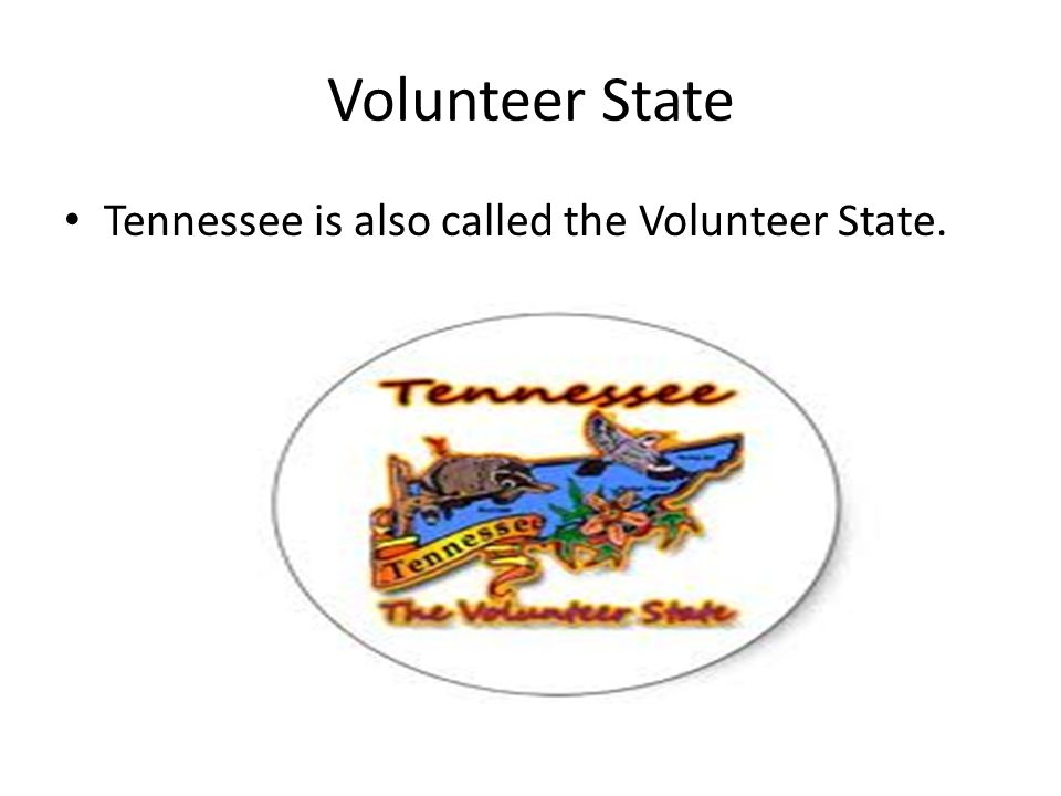 Volunteer State Tennessee is also called the Volunteer State.