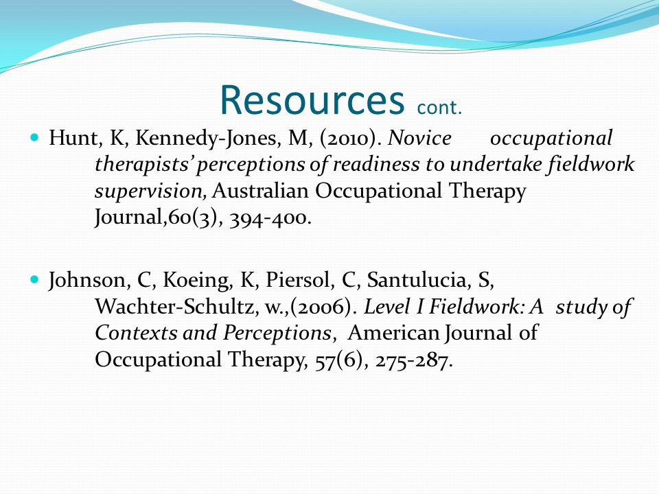 Resources cont. Hunt, K, Kennedy-Jones, M, (2010).