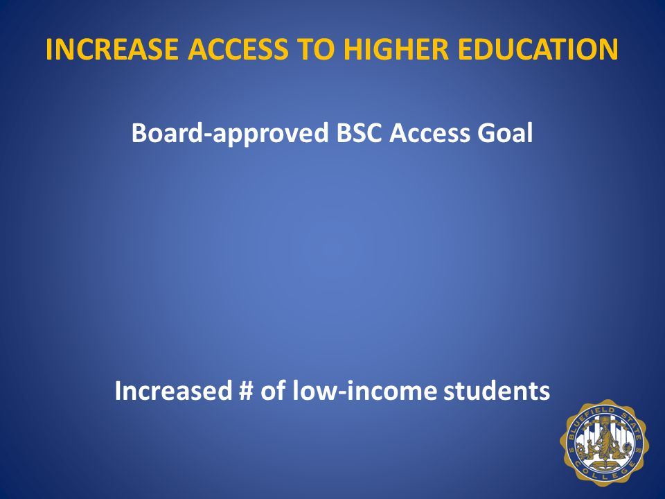 INCREASE ACCESS TO HIGHER EDUCATION Board-approved BSC Access Goal President's Goal VP for Student Affairs Goal Student Affairs Staff Goals Increased # of low-income students