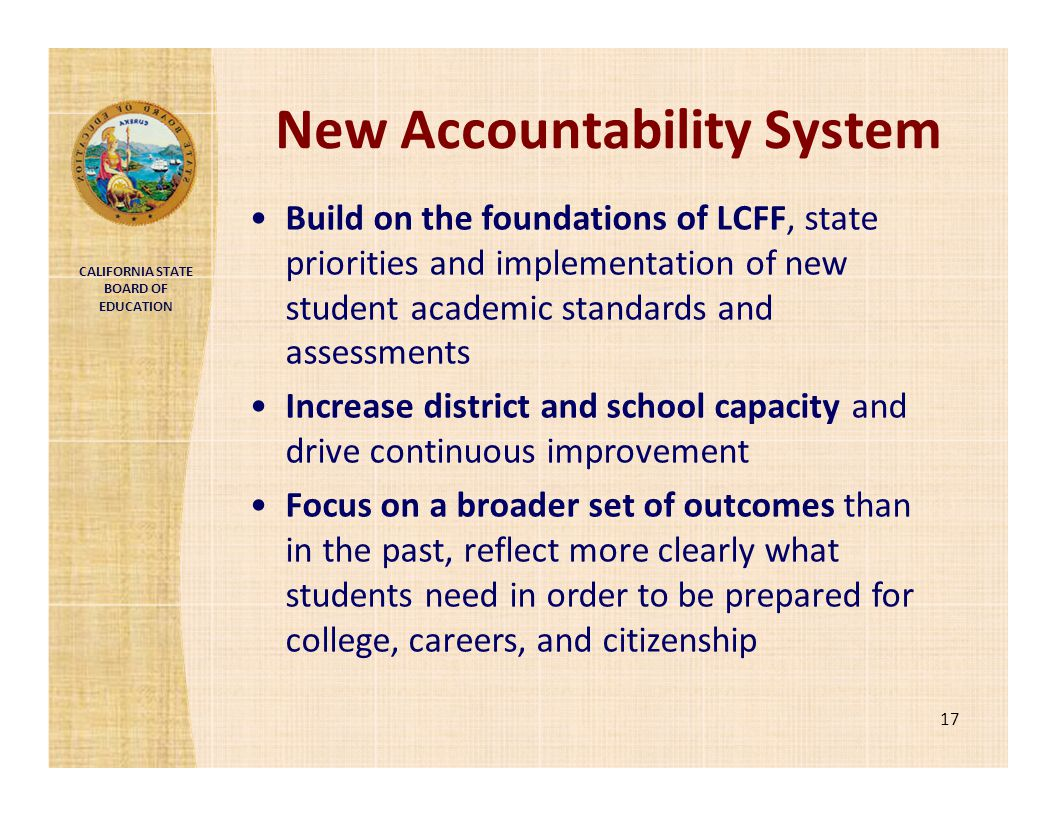 CALIFORNIA STATE BOARD OF EDUCATION New Accountability System 17 Build on the foundations of LCFF, state priorities and implementation of new student