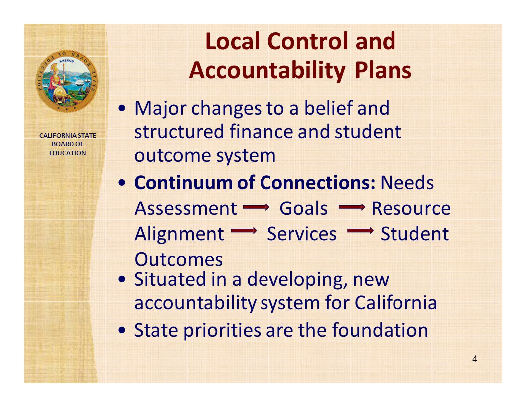 CALIFORNIA STATE BOARD OF EDUCATION Local Control and Accountability Plans Major changes to a belief and structured finance and student outcome system