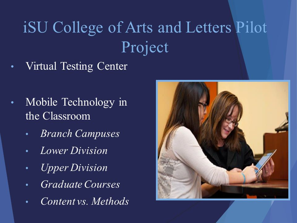 iSU College of Arts and Letters Pilot Project Virtual Testing Center Mobile Technology in the Classroom Branch Campuses Lower Division Upper Division Graduate Courses Content vs.
