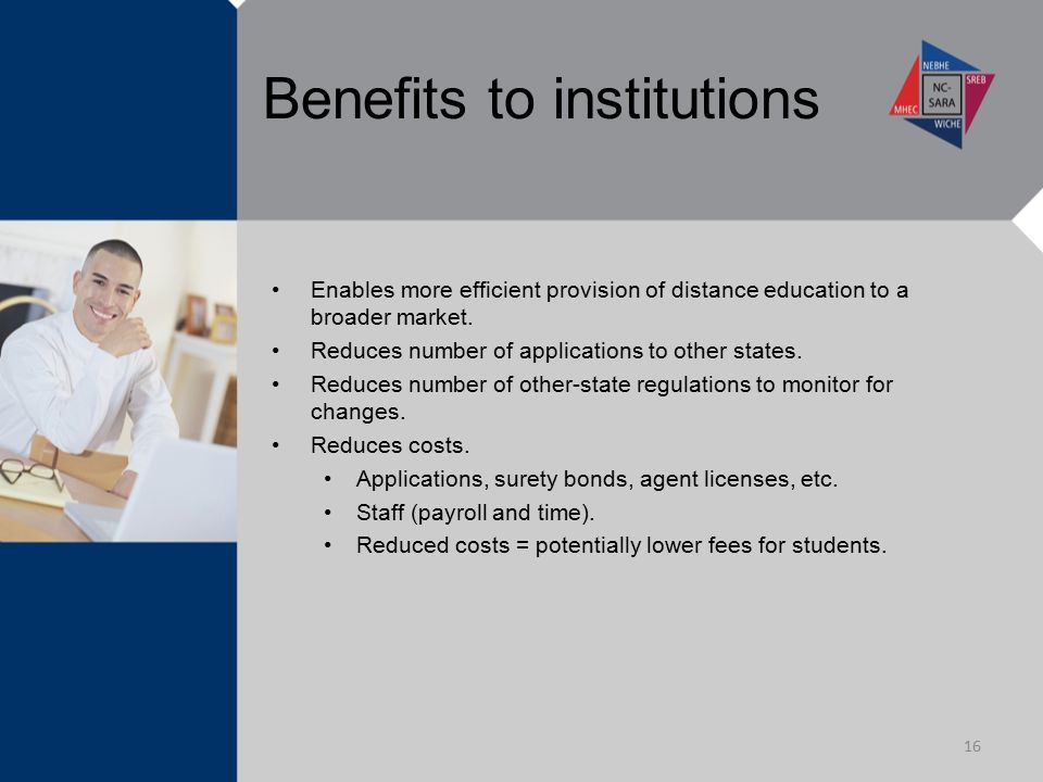 Benefits to institutions Enables more efficient provision of distance education to a broader market. Reduces number of applications to other states. R