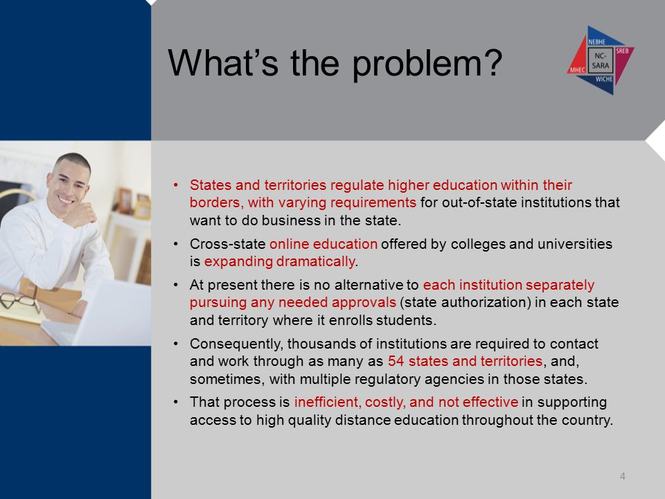 What's the problem? States and territories regulate higher education within their borders, with varying requirements for out-of-state institutions tha