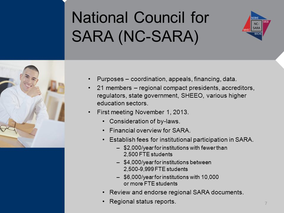 National Council for SARA (NC-SARA) Purposes – coordination, appeals, financing, data. 21 members – regional compact presidents, accreditors, regulato