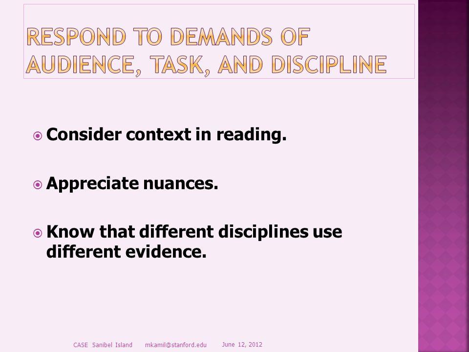  Consider context in reading.  Appreciate nuances.