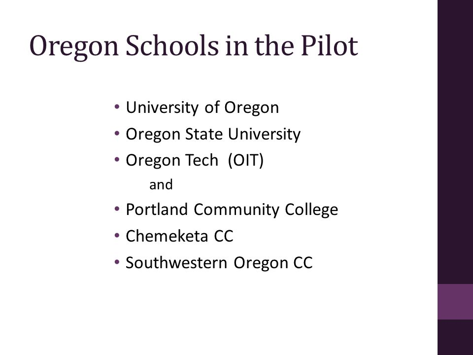 Oregon Schools in the Pilot University of Oregon Oregon State University Oregon Tech (OIT) and Portland Community College Chemeketa CC Southwestern Or